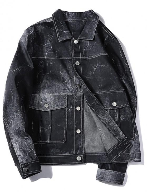 shops Lightning Print Button Up Jacket - BLACK M