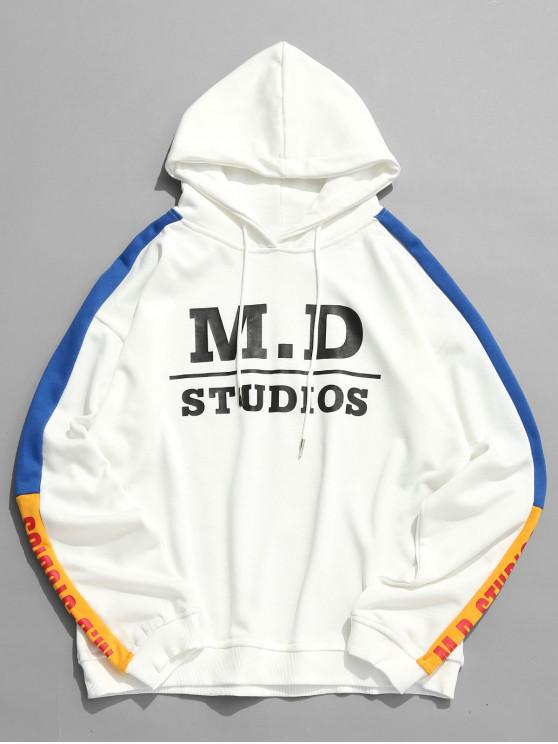 trendy Colorblock Letter Casual Hoodie - WHITE M