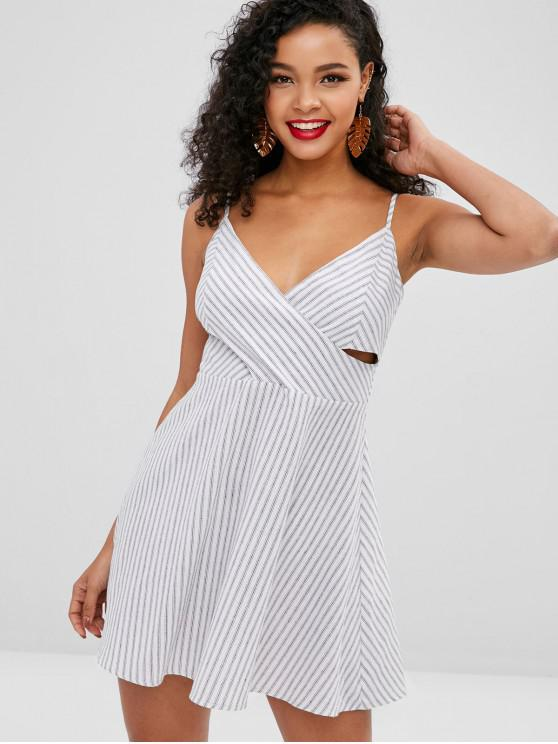 new ZAFUL Striped Overlap Mini Cami Dress - WHITE M