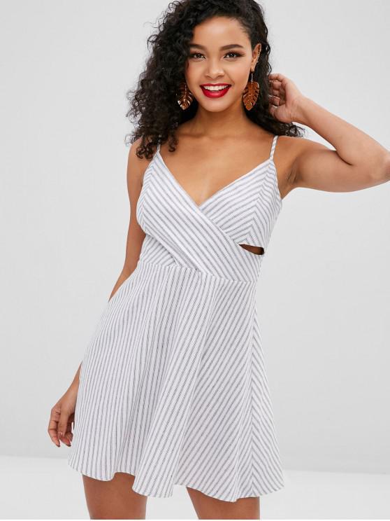 ZAFUL - Gestreiftes Mini Cami-Kleid mit Überlappung - Weiß M