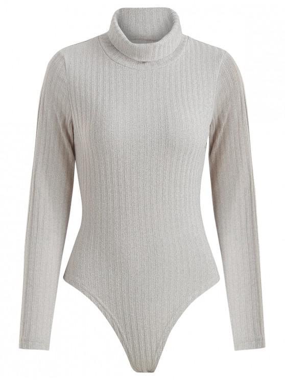 chic Ribbed Turtleneck Snap Crotch Bodysuit - GRAY GOOSE M