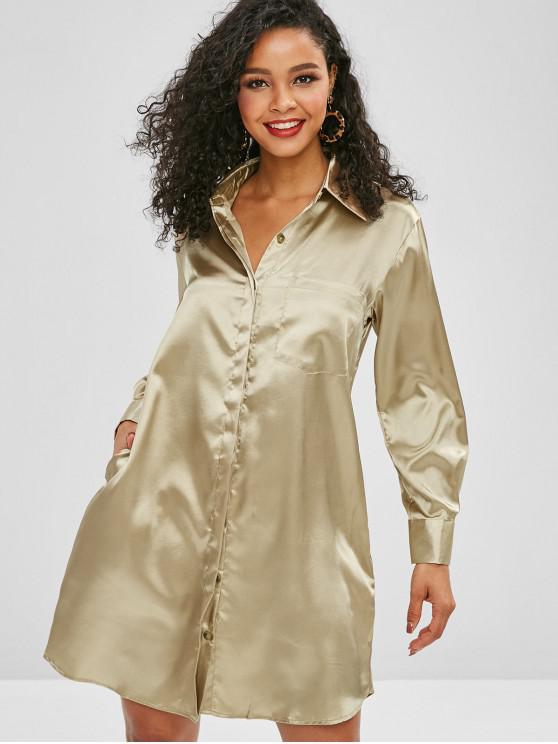 Front Pocket Satin Shirt Dress CHAMPAGNE GOLD