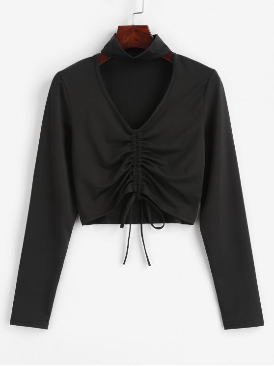 fashion Choker Drawstring Crop Tee - BLACK M
