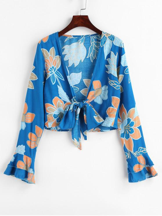 latest Flare Sleeve Flower Print Wrap Blouse - BLUE S