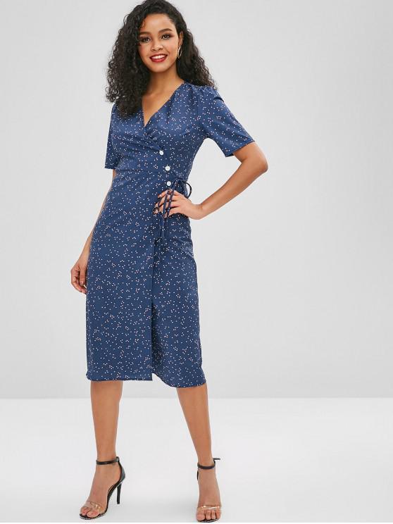 fancy Plunge A Line Polka Dot Dress - DEEP BLUE L