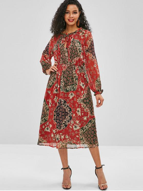 ladies Ruffles Pleated Printed A Line Dress - RED L