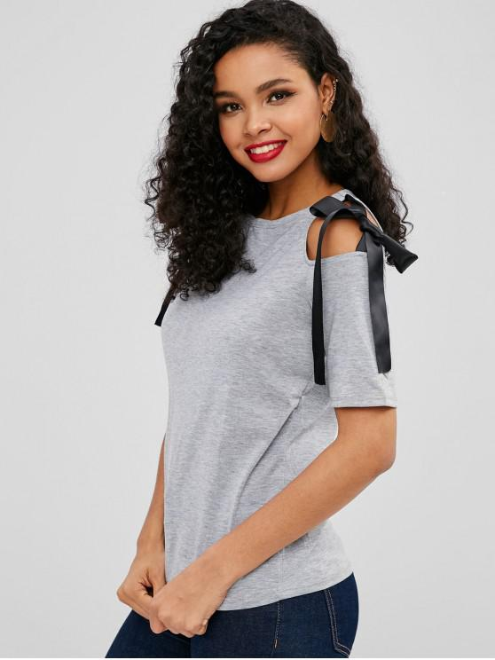 shop Knotted Cold Shoulder Tee - GRAY S