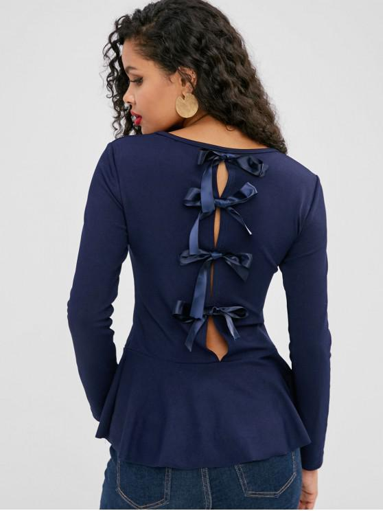 ladies Long Sleeve Knots Skirted Blouse - DEEP BLUE M