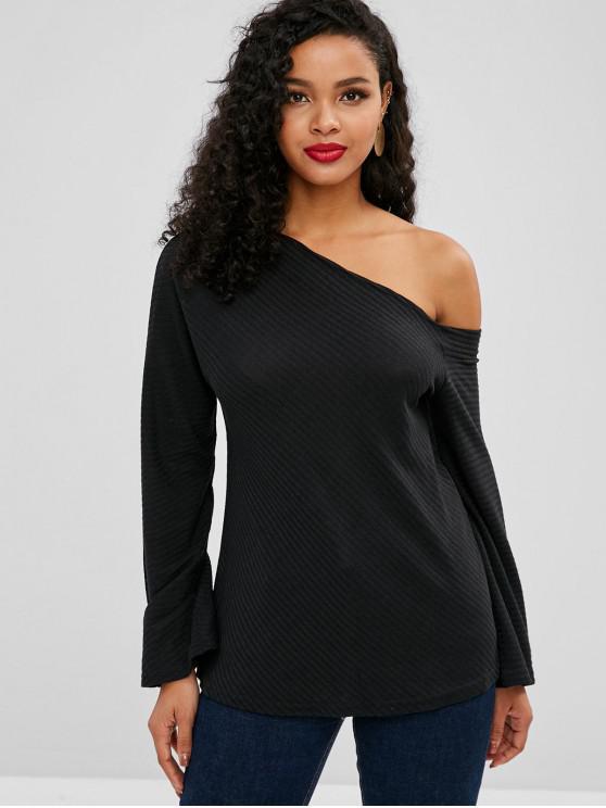 shop One Shoulder Ribbed Knitwear - BLACK XL
