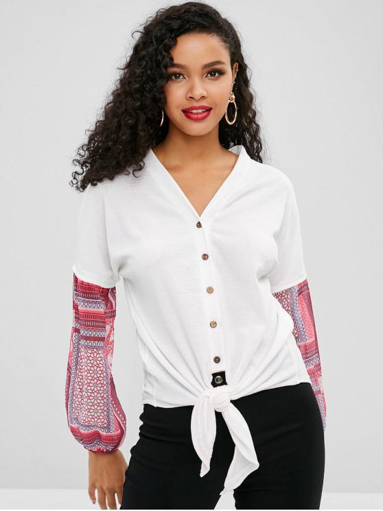 women Buttoned Knotted Hem Printed Blouse - WHITE S