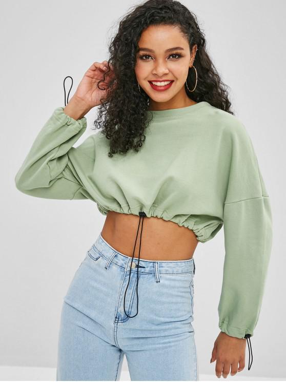 fashion Drawstring Waist Plain Crop Sweatshirt - GREEN PEAS L