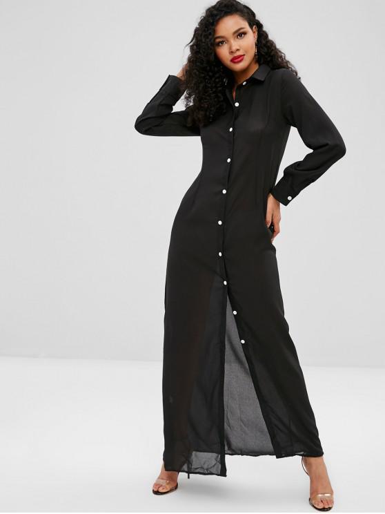 198a04987e 30% OFF] 2019 Button Up Plain Maxi Dress In BLACK | ZAFUL