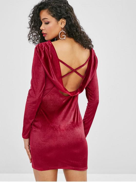 women's Cross Velvet Draped Club Dress - RED L
