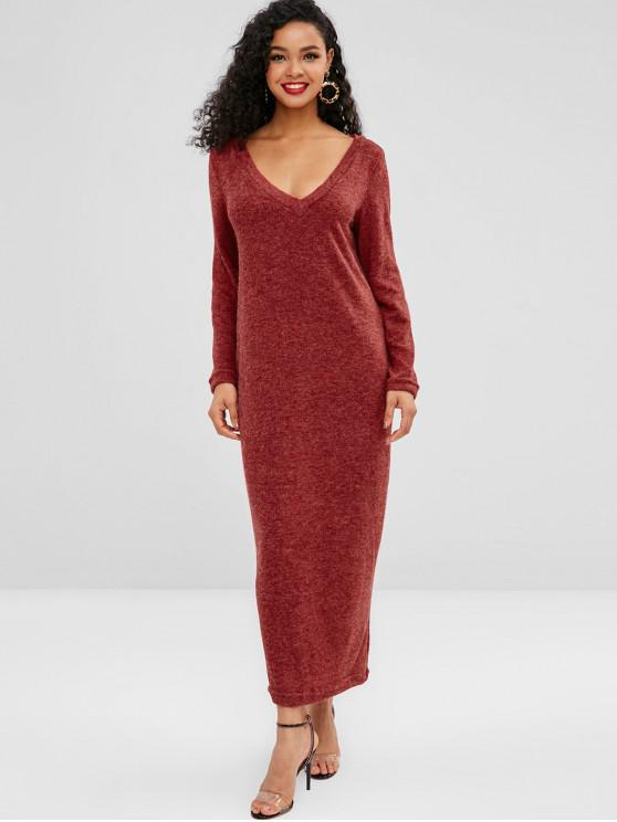 trendy Knitted Long Sleeve Maxi Dress - RED M