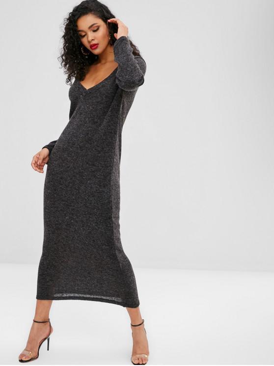 chic Knitted Long Sleeve Maxi Dress - DARK GRAY S