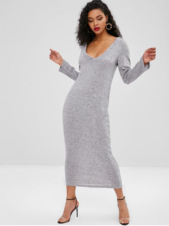af2c36e609a 48% OFF  2019 Knitted Long Sleeve Maxi Dress In LIGHT GRAY