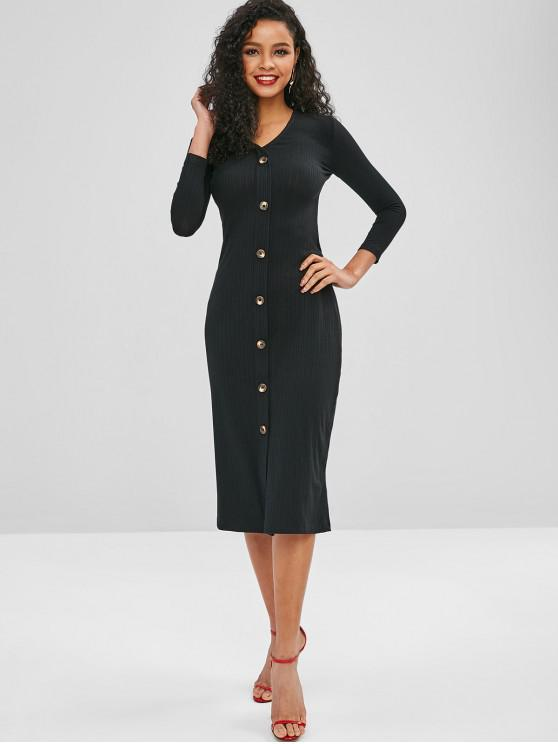 women Button Up V Neck Plain Dress - BLACK L