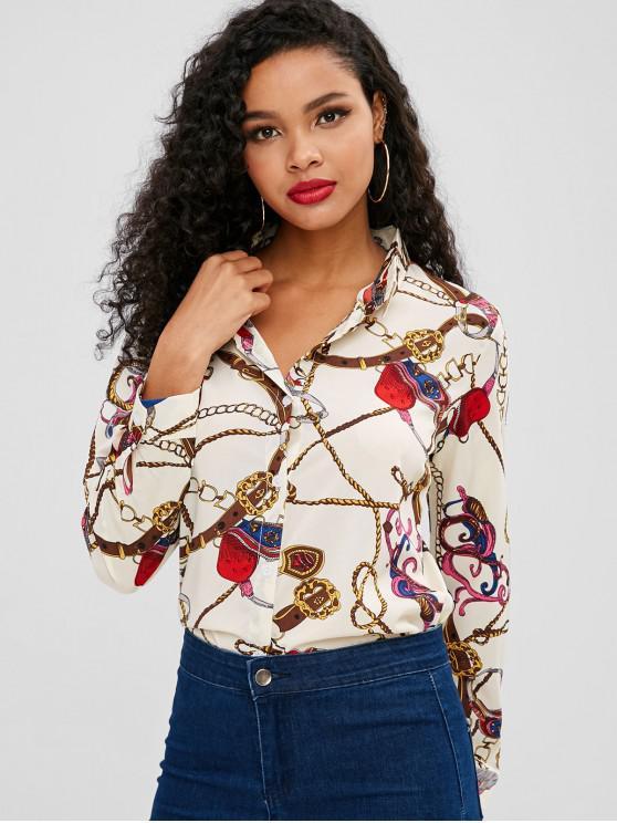 new Tassels Belt Print Buttoned Shirt - MULTI L