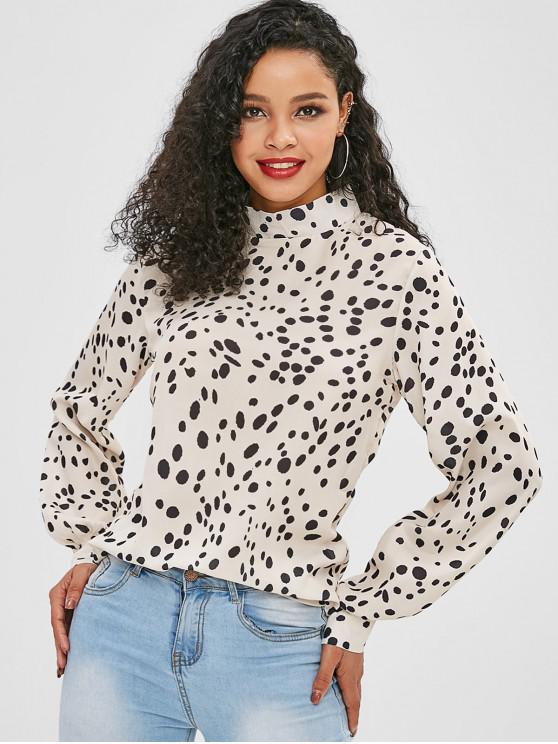 outfit Leopard High Neck Pullover Blouse - LIGHT KHAKI S