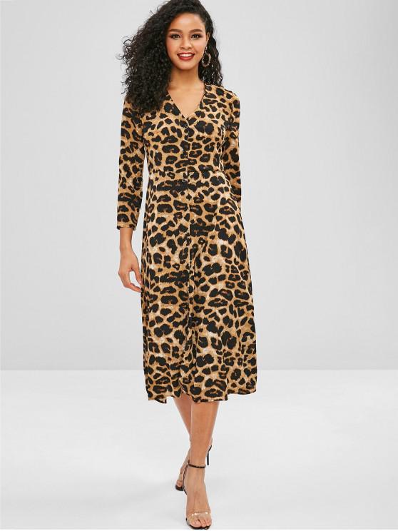 outfits Leopard Button Up V Neck Dress - LEOPARD L