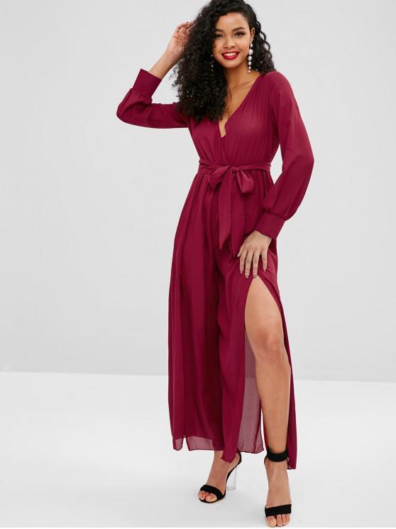 shop Plunging Belted Slit Wide Leg Jumpsuit - RED WINE M