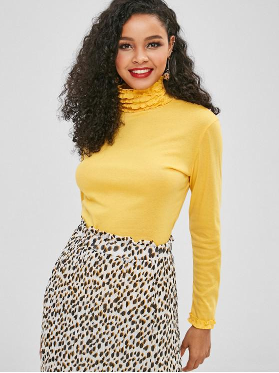 chic High Neck Long Sleeve Frilled Tee - YELLOW XL