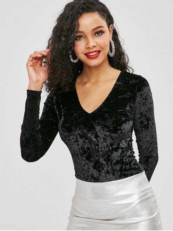 outfit Velvet V Neck Long Sleeve Bodysuit - BLACK S