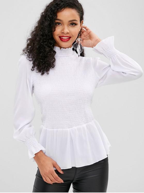 fashion Ruffled Smocked Blouse - WHITE S