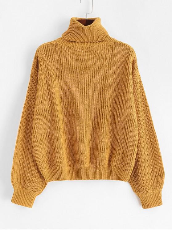 shop ZAFUL Turtleneck Drop Shoulder Plain Sweater - CARAMEL ONE SIZE