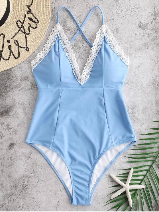 best ZAFUL Laced Criss Cross One-piece Swimsuit - CRYSTAL BLUE M