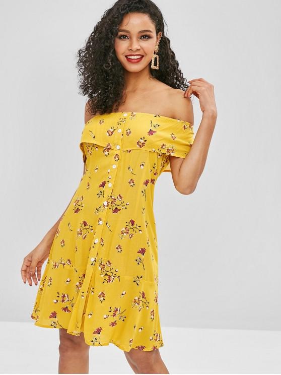 fashion ZAFUL Floral Button Up Off Shoulder Dress - YELLOW S