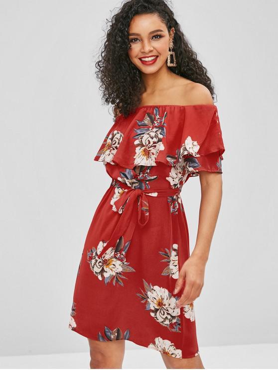 fancy ZAFUL Floral Overlay Off Shoulder Dress - RED L