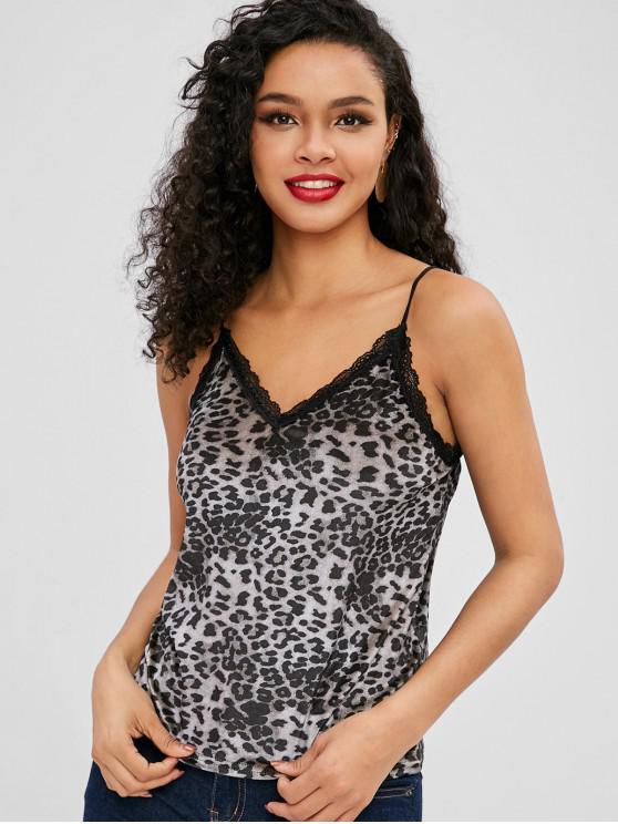 chic Leopard Velvet Lace Trim Cami Top - MULTI-A M