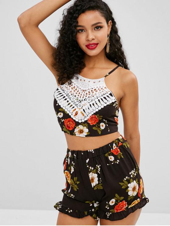 new Floral Crochet Panel Top and Shorts Two Piece Set - MULTI S
