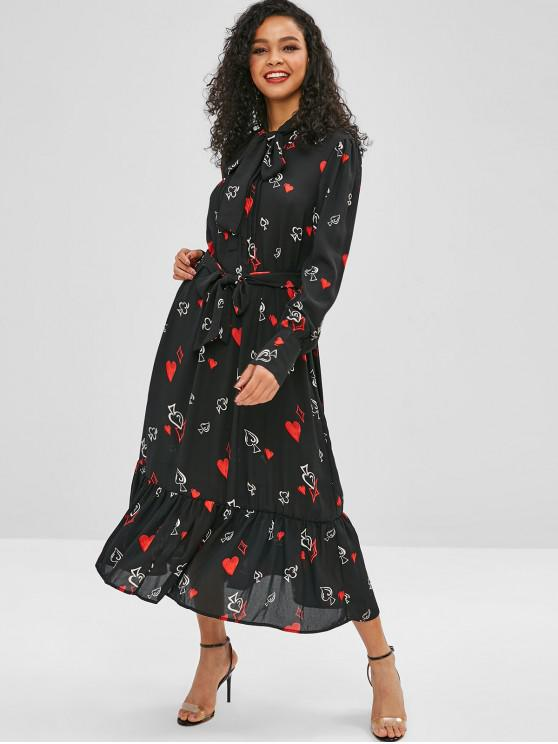 women Bow Tie Chiffon Heart Print Belted Dress - BLACK S