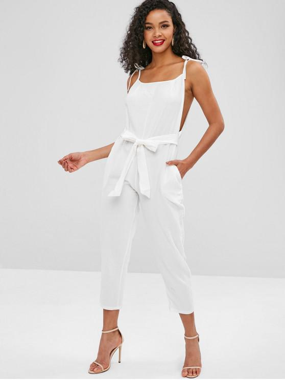 women Cami Belted Ninth Jumpsuit - WHITE L