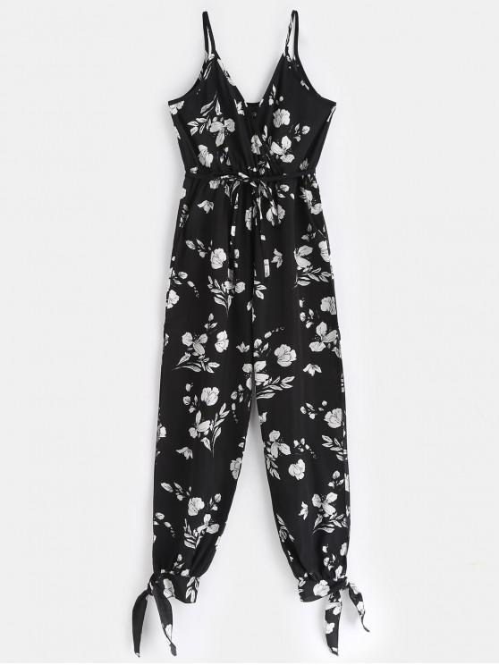 ladies Split Tied Cami Flower Print Jumpsuit - BLACK L