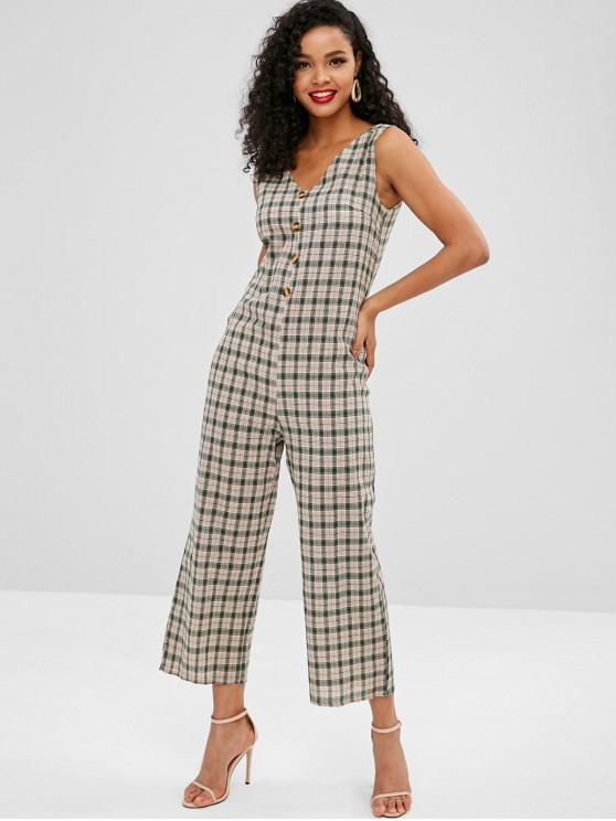 fancy Buttons Embellished Plaid Sleeveless Jumpsuit - MULTI L