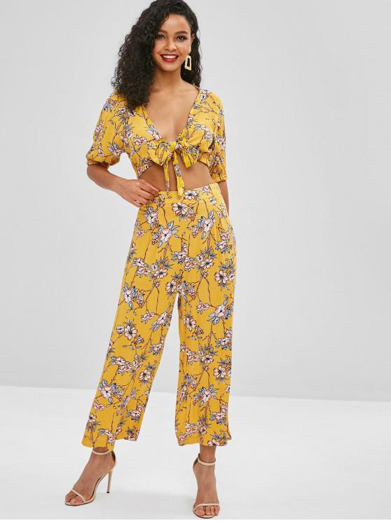 online Tie Front Floral Print Top and Pants Set - YELLOW M