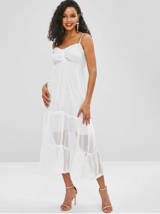 lady Lace Panel Cami Midi Dress - MILK WHITE M