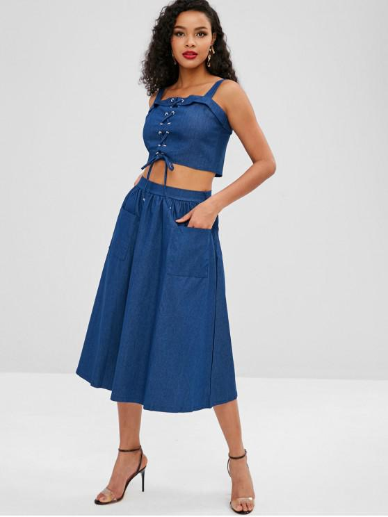 online Lace Up Pocket Chambray Skirt Set - DEEP BLUE M