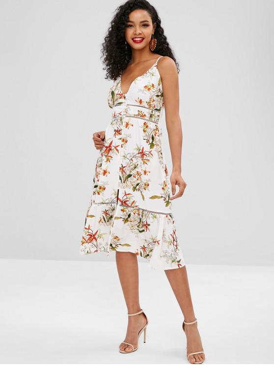 a5ae8a64c26f Escada Crochet Floral Print Midi Dress - Branco M