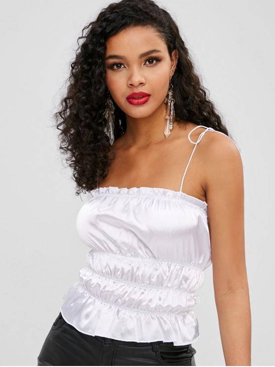 lady Frilled Shiny Shirred Cami Top - WHITE S