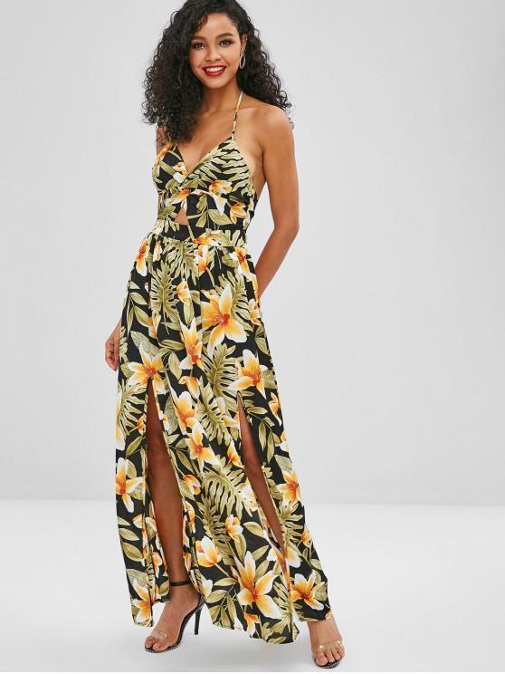 bc9f4ca323 29% OFF  2019 Twist Front Floral Print Halter Maxi Dress In YELLOW ...