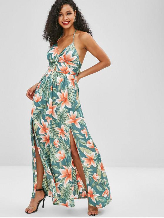 b4942c2e37 29% OFF  2019 Twist Front Floral Print Halter Maxi Dress In GREEN ...