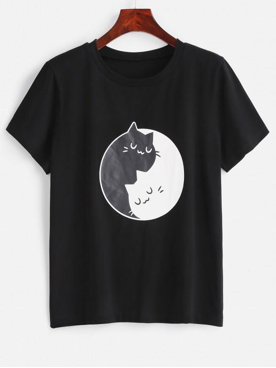chic ZAFUL Two Tone Cats Graphic Tee - BLACK M