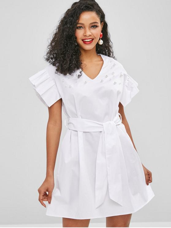hot Belted Faux Pearls Ruffles Dress - MILK WHITE M