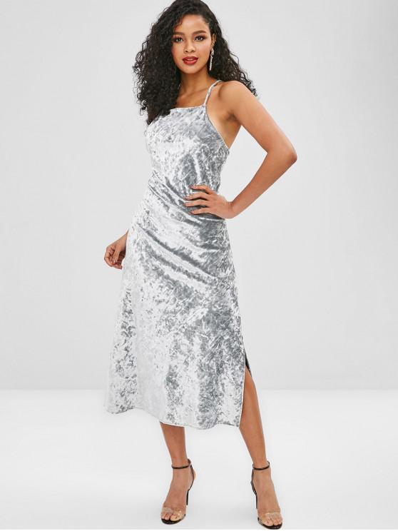 outfits Velvet Cross Cami Slit Cocktail Dress - LIGHT GRAY M