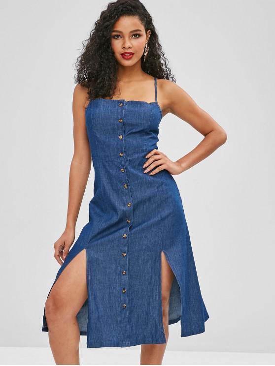 Botão para cima vestido de Chambray de fenda - Azul Escuro de Denim  L