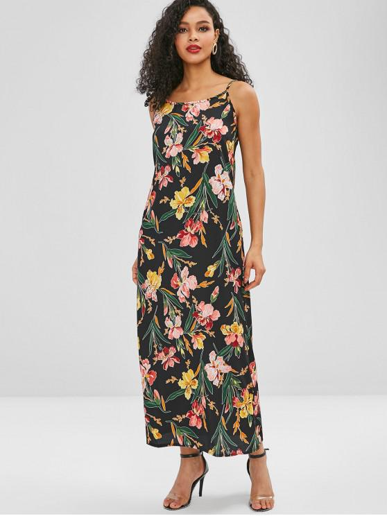Vestido Maxi Floral com Cintos - Preto L